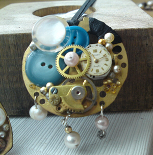 Steampunk Necklace with Clock and Cogs