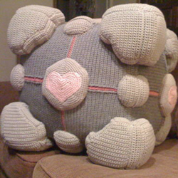 Crochet Portal Companion Cube with pattern