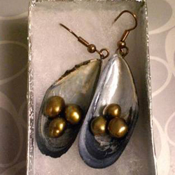 Mussel Shells and Green Freshwater Pearl Earrings