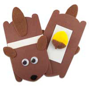 Felt squirrel and acorn hand ball game