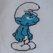 Smurfs towel cross stitch