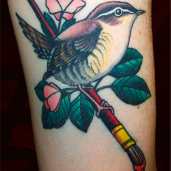 Bird and Paintbrush Tattoo