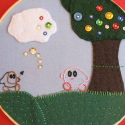 Kirby's Epic Yarn Embroidery