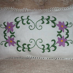 Embroidered and Tatted Cushion