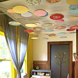 Embroidery hoop ceiling