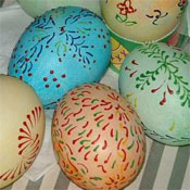 Wax painted eggs