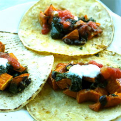 Roasted yam and chard tacos