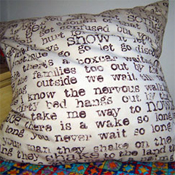 Music lyrics pillow