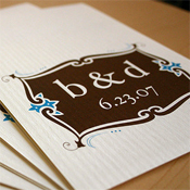 Blue and brown wedding invitation
