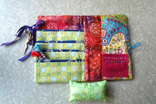 Patchwork portable sewing wallet using the bernina pe