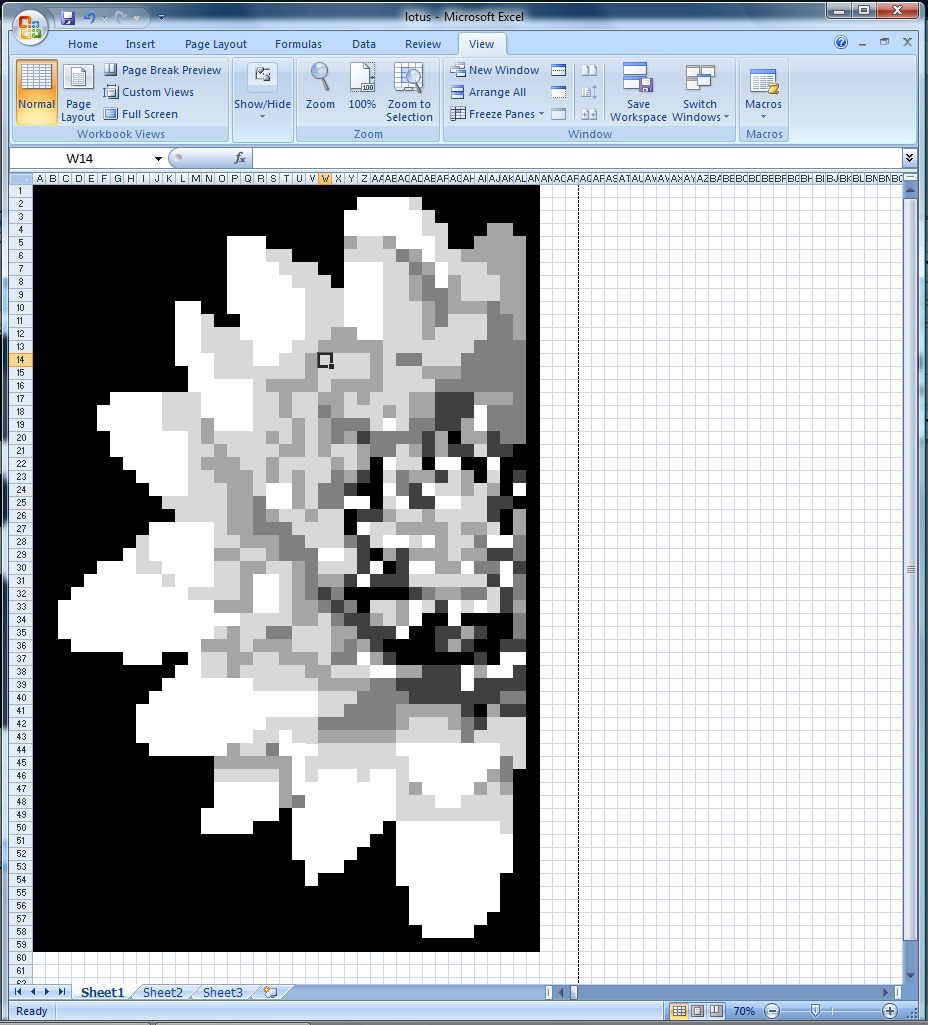 lotus flower pixel art using ms excel more art less craft